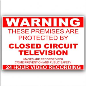 1 x Warning Closed Circuit Television-130mmx87mm-Red On White-Home,Premises,Security,House,Apartment Warning Sticker Sign